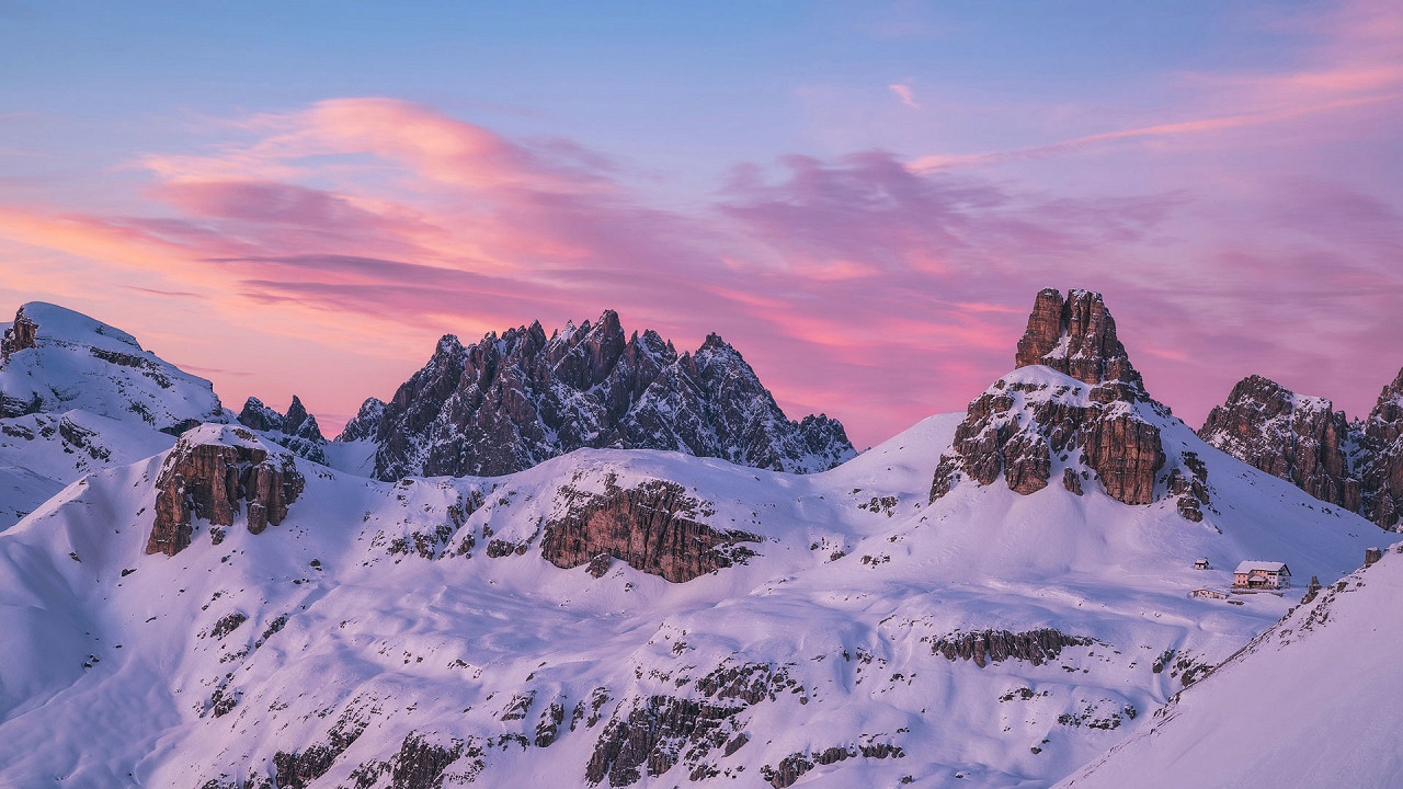 Winter on the Dolomites seen from Locatelli