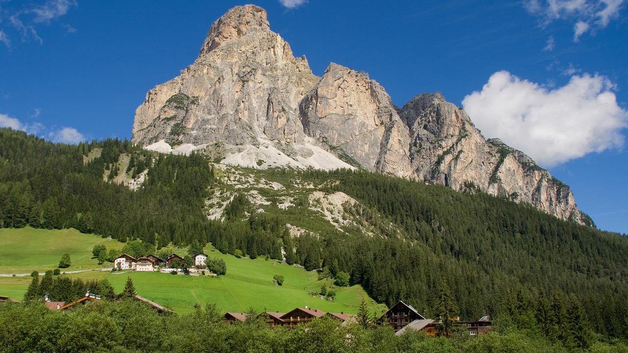 Mount Sassongher seen from Corvara in Alta Badia