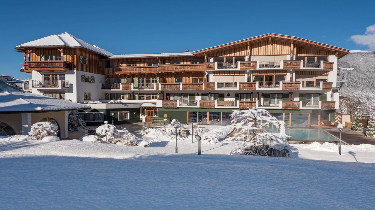 Winter exterior Mirabell Dolomites Hotel Valdaora