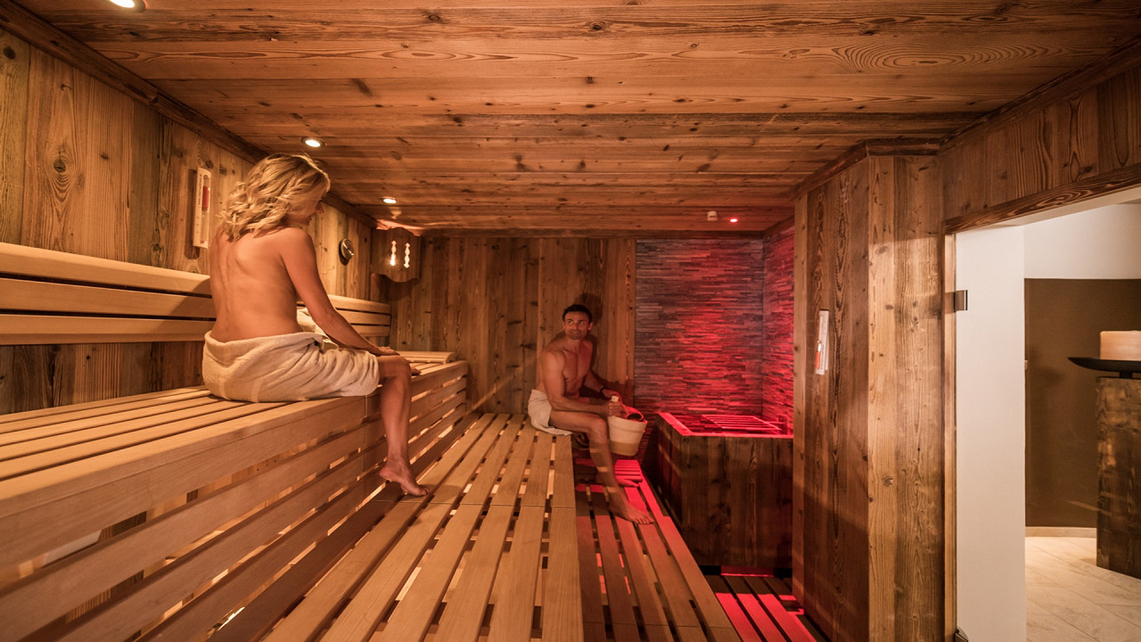 Couple in the sauna Mirabell Dolomites Hotel Valdaora