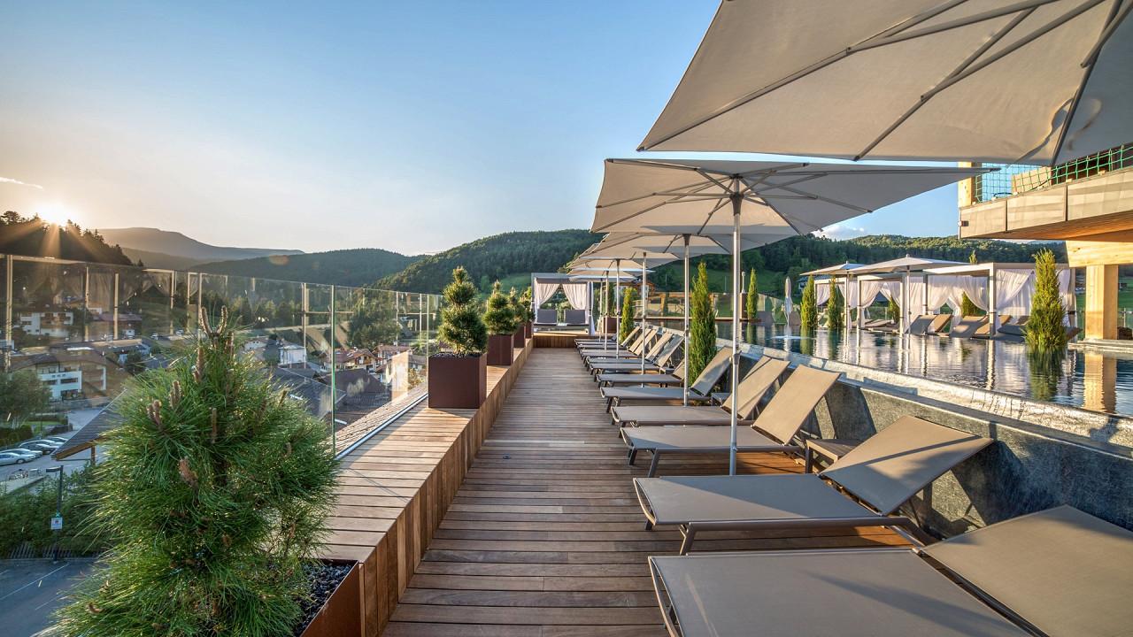 Panoramic terrace sky Pool Abinea Hotel Castelrotto